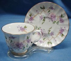 Beautiful Vintage Fine Bone China Cup & Saucer ~ Lilacs ~ E & R  Made in England