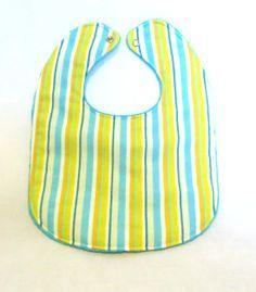 Baby Bib  Modern Baby   Easter Stripes  Aqua by PetiteChalet, $10.00