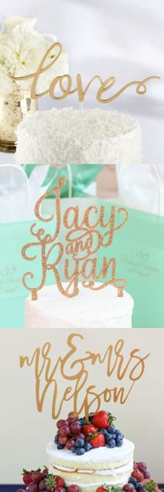 Don't forget to top your gorgeous wedding cake with the perfect wedding cake topper! Personalize the topper with your names or keep it simple, either way find the perfect topper today!