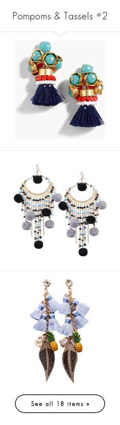 """""""Pompoms & Tassels #2"""" by kikikoji ❤ liked on Polyvore featuring jewelry, earrings, beaded tassel earrings, floral earrings, beading earrings, beads jewellery, tassel earrings, zaful, earring jewelry and beaded earrings"""