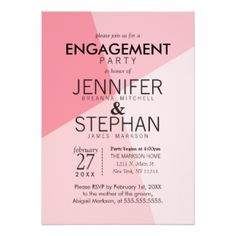 Rose Quartz Pink Geometric Engagement Party Invite