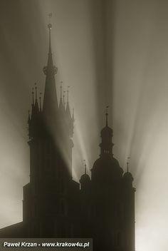 St. Mary's Basilica on the Main Market Square in Krakow, Poland