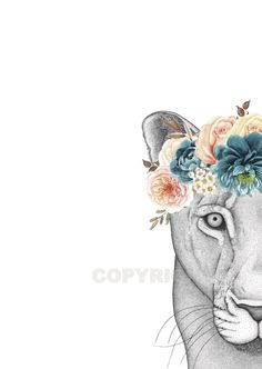 Image of LINDA THE LIONESS with Flower Crown