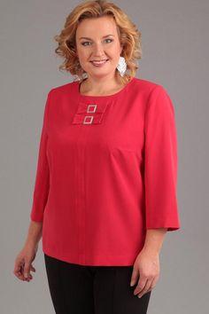 Блузка Djerza 78 красный Big Size Fashion, Curvy Girl Fashion, Fashion Models, Jeans Top Design, Ladies Tops Patterns, Casual Dresses, Fashion Dresses, Sewing Blouses, Floral Jacket