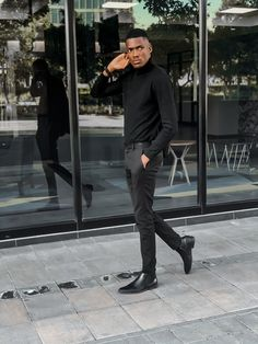 Men's style threads by lesleympofu_ Mens Fashion Blog, Winter Essentials, Black Turtleneck, Menswear, Turtle Neck, Street Style, Photo And Video, Lifestyle, People