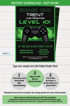 Video Game Party Invitation Ticket Invitation VIP Pass Custom - Video game birthday invitation template