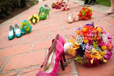 orange county wedding photography  colorful bouquets and colorful bridesmaids shoes bride maid shoes high heels colorful