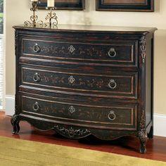 Pulaski Furniture 704310 Drawer Chest Entry Table, Versailles Black - Home Furniture Showroom