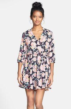 Lush 'Kendal' Floral Print Surplice Faux Wrap Dress (Juniors) available at #Nordstrom
