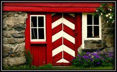 Red & white chevron door. Norway