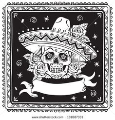 free papel picado fonts | Frame with mexican skull Shutterstock Image - Frame with mexican skull ...
