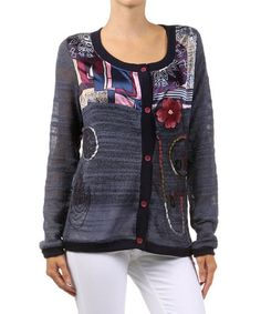 Look what I found on #zulily! Blue Patchwork Embellished Cardigan by Farinelli #zulilyfinds