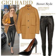 Gigi Hadid in beigem Wollmantel zu einer Lederhose und High Heels