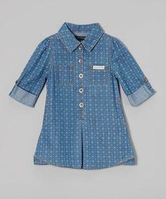 Another great find on #zulily! Denim Dot Button-Up Dress - Infant, Toddler & Girls #zulilyfinds