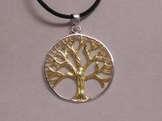 Silberanhänger - Lebensbaum Silberanhänger, teilvergoldet - ein Designerstück von bs-masala bei DaWanda