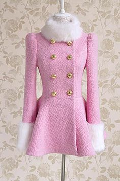 Elegant Pink Double Breasted Winter Coat