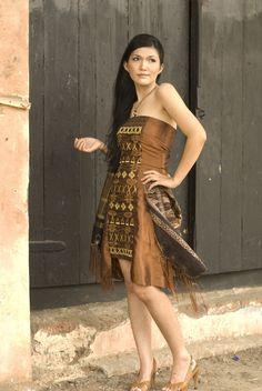 Ulos modern || dress from ulos cloth, originating from sumatera, indonesia