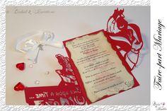 Lasercut wedding invitation - Faire-part Mariage -Modèle arabesque - Bella en rouge et blanc irisé - Faire-part ciselé, découpe façon laser Lasercut, Red And White Weddings, Arabesque, Invitation, Red And White, Laser Cutting, Invitations, Reception Card