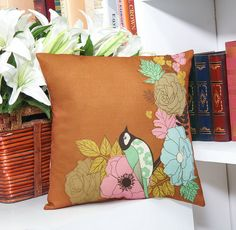 Throw Pillow Case Cotton linen Sofa Cushion Cover Home Decor Flower & Bird 45cm
