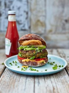Brilliant veggie burger I've teamed these beautiful veggie and vegan burgers with homemade spiced vegan mayo and crispy onion rings