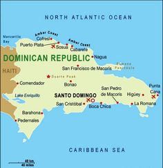 Map of Dominican Republic with Cabarete in the North