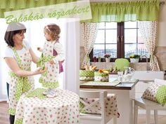 Zöld és rózsás vidám hangulatú konyha