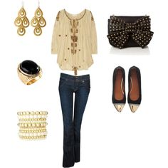 Gold and beige set off with black,  Etoile Isabel Marant Hudson Jeans    Love it all with the exception of the bag.