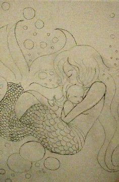 Mermaid & baby Baby Mermaid, Photography, Painting, Art, Painting Art, Paintings, Kunst, Paint, Photograph