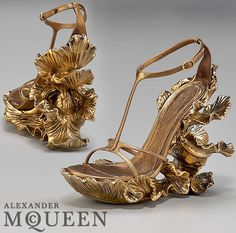 "Gold Floral Leaf Shoes Heel ◆ Neovictorian Modern Baroque Fashion ◆ Alexander McQueen ""Karma Metal"" Floral Sculpture Wedge Sandal From Spring Summer 2011 Collection"