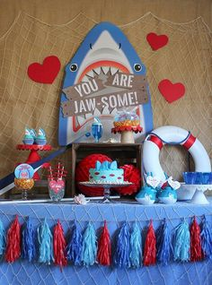 You Are Jaw-some Valentine's Day Party, Jaw-some, Valentines party, kids valentine's day party, kids valentines party, shark party, valentine's day, oriental trading, partnership, fin-tastic, free printables, party ideas, party inspiration, valentine's da