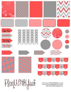 Plan with Yesii: Coral & Grey FREE Planner Sticker Printables