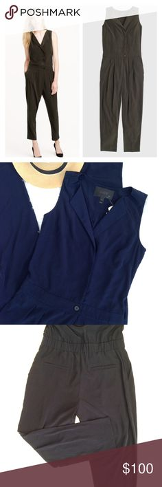 "J.Crew NAVY sleeveless trench jumpsuit J. Crew NAVY sleeveless trench jumpsuit NWT. A great transition piece with trench coat-inspired details. 100% Polyester. Elastic waistband in back. Machine washable. Photos 1&4 are J. Crew.   Measurements are taken lying flat.  Bust/Armpit to armpit: 17.5"". shoulder to waist: 20"".                                            Waist: 15.5"".  Inseam: 24 1/2"".  Rise: 10"".   ✅price isn't firm - I love reasonable offers!  ✅feel free to ask questions if unsure…"