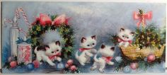 Sweet Little Kitty Cats Play w Ornaments Vtg Christmas Card