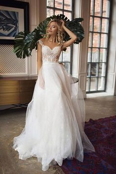Tulle Off-the-Shoulder A-Line Wedding Dresses With Lace Appliques & Beading,
