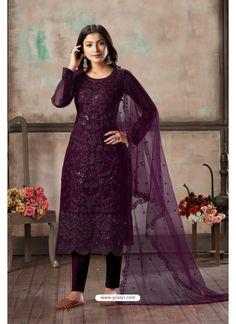 Purple Net Party Wear Straight Suit Buy Salwar Kameez Online, Eid Outfits, Eid Dresses, Ethnic Looks, Purple Pants, Designer Salwar Suits, Indian Ethnic Wear, Indian Attire, Purple Fashion
