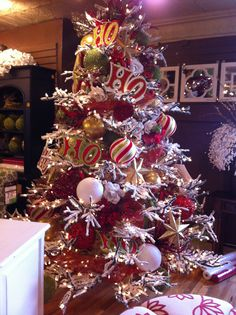 Red, White, and Green Christmas tree at Osmond Designs in Orem and lehi Utah. http://www.osmonddesignsfurniture.com/
