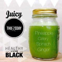 1/4 Pineapple, 3 celery, 5 spinach y 1.5cm  ginger.  juice, jugo, healthy, saludable, detox, green