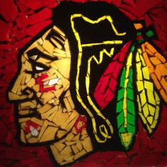 8 x 10 inch Chicago Blackhawks Suncatcher by GreatEscapeMosaics