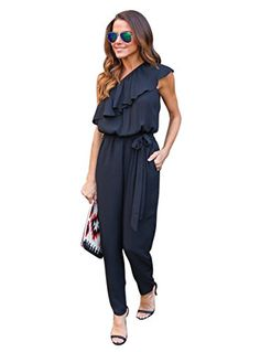 The stunning loose off one shoulder ruffle jumpsuit is made from a superior structured fabric in a pure hue. Designed with an off one shoulder neckline, full length pants and belt sash.Complete the look with black heels and handbag.</br><b>Features:</b></br>1.Full length pants in stylish loose style with belt sash </br>2.Superior structured fabric in a popular solid color </br>3.Off one shoulder neckline jumpsuits greatly highlight fashion sense</br><b>Attention</b></br>1. There maybe 1-2 cm…