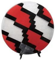 Fullart Peru A mod geometric design is painted in black and red on a bubbled glass decorative platter. Shows: Atlanta. Featured in the January 2013 issue of Home Accents Today.