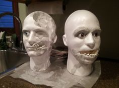 Making Zombies from foam male mannequin  heads.