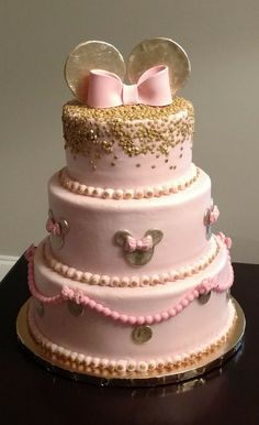 Pink and gold Minnie cake