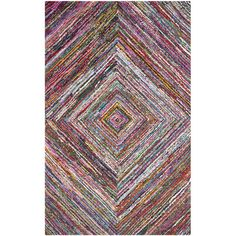 Add an artful touch to your entryway or living room with this hand-tufted cotton rug, featuring a multicolor abstract motif.  Produc...