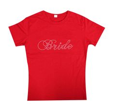 Bride Rhinestone Fitted Cotton T-Shirt Bride by BridesmaidTank Bridesmaid Tanks, Bride Gifts, Bride Tshirts, Cotton Shirts, Fitness, Drinking, Mens Tops, T Shirt, Bling