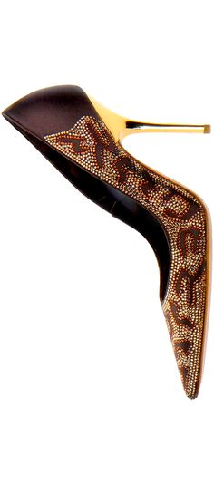 René Caovilla ~ Multi Brown Studded Pump w Slim Gold-tone Metal Heel Hot Shoes, Crazy Shoes, Me Too Shoes, Rene Caovilla, Shoe Boots, Shoes Sandals, Louboutin, All About Shoes, Kinds Of Shoes