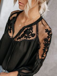 New Arrival Ladies Boho Mesh Lace Hook Flower Lantern Sleeve Loose Short Chiffon Blouse Shirts Women Fashion Casual Blouses - Pothead Look Fashion, Womens Fashion, Fashion Belts, Fashion Fashion, Korean Fashion, Black Lace Blouse, Floral Blouse, Floral Lace, Stylish Shirts