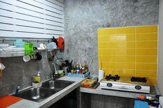 ครัวปูน9 | iHome108 Dirty Kitchen Design, Modern Kitchen Design, Kitchen Cabinets, Kitchen Appliances, Kitchens, Loft Kitchen, Cheap Houses, Concrete Kitchen, Loft Style