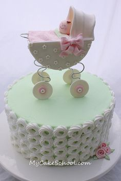 Here's a sweet little baby carriage cake that we recently made for a video tutorial on our site ;0)