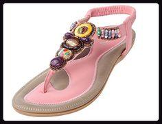 Vogstyle Damen Sommer Bohemia Sandalen Zehentrenner Clip Toe Flip Flops Strand Schuhe Art 2 Pink CH44 - Sandalen für frauen (*Partner-Link)