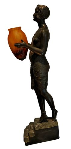 French Patinated Bronze Art Deco Figural Lamp, after Pierre Le Faguays, 1920s, signed